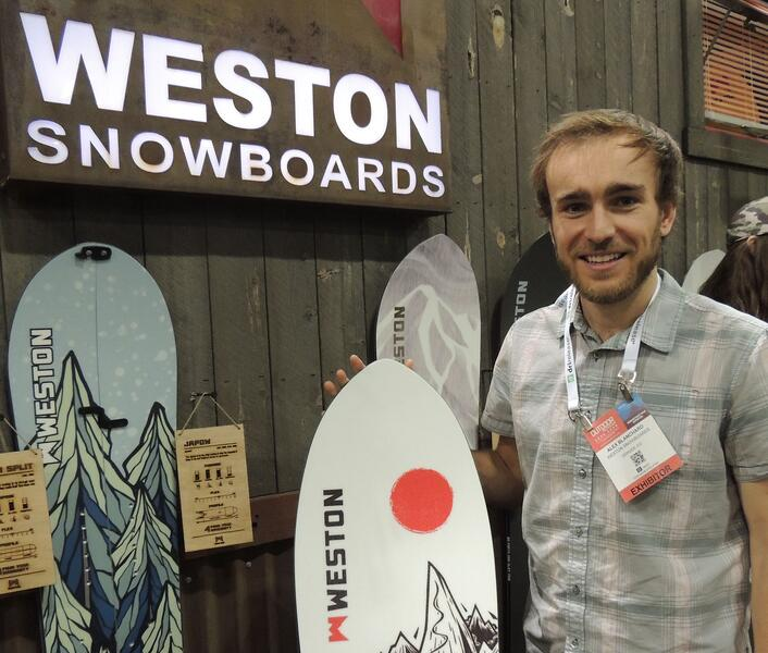 Photo of Alex Blanchard of Weston Snowboards at Weston trade show booth for Cloverly Partner Profile blog post