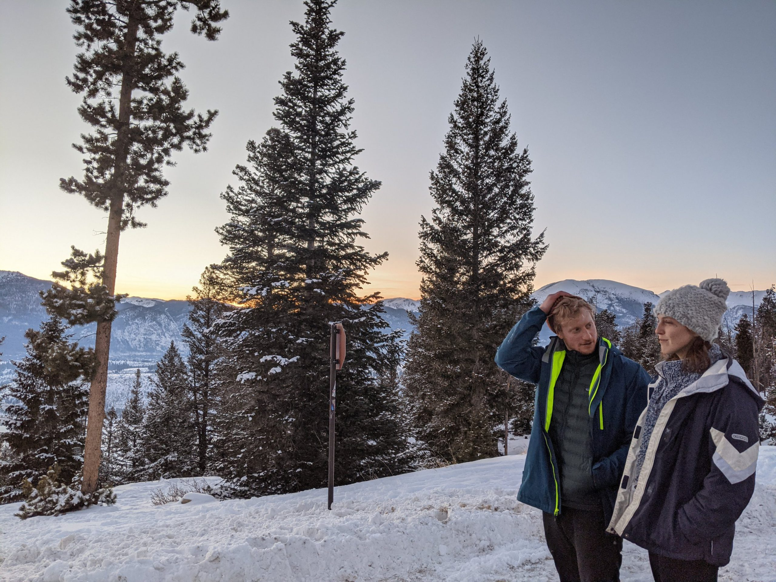 Photo of Ben Weinberg and Reagan Cline in Keystone, Colorado, to illustrate a story about their road trip in which they used carbon offsets from Cloverly to neutralize the carbon impact of their transportation